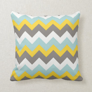 Blue, Yellow, Grey, White Chevron Zigzag Pillow