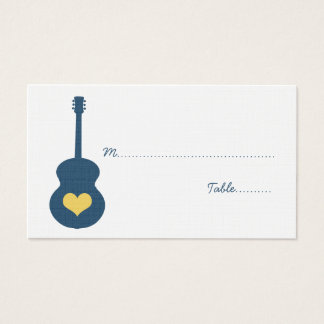 Blue/Yellow Guitar Heart Place Card