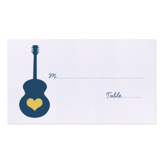 Blue/Yellow Guitar Heart Place Card Pack Of Standard Business Cards