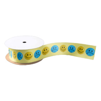Blue & Yellow Happy Sad Smiley Bi Polar Ribbon Satin Ribbon