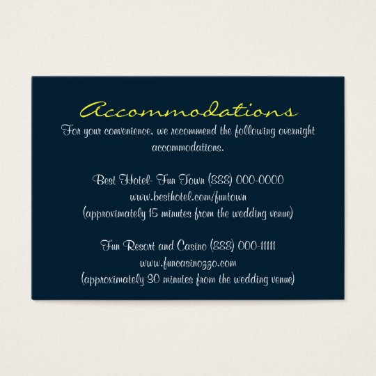 Blue Yellow Insert Reception & Accommodation Cards