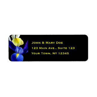 Blue & Yellow Iris Flowers 4b Return Address Label