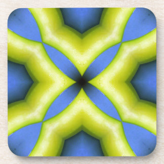 Blue Yellow Kaleidoscope Design Drink Coaster