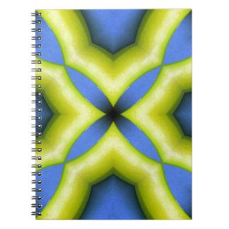 Blue Yellow Kaleidoscope Design Notebook