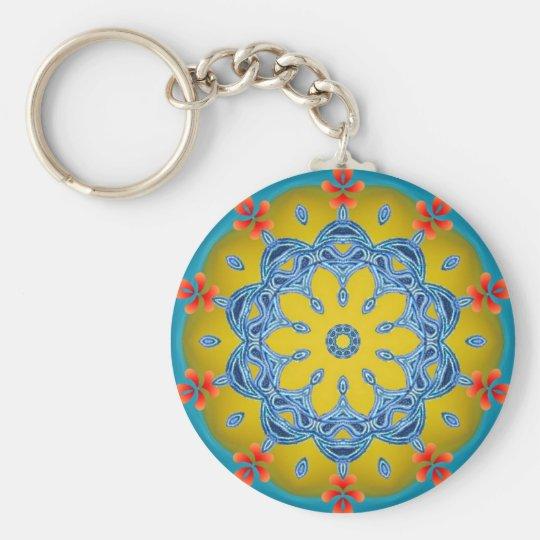 Blue & Yellow Kaleidoscope Key Ring