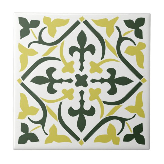Blue yellow mediaeval style Ornament Ceramic Tile