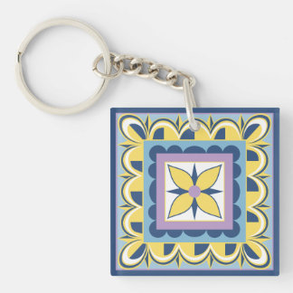 Blue & Yellow Mexican Talavera Tile Double-Sided Square Acrylic Key Ring