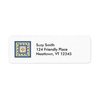 Blue & Yellow Mexican Talavera Tile Return Address Label