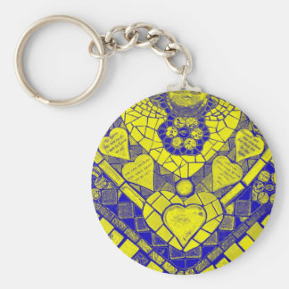 blue yellow mosaic key ring