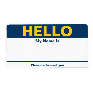Blue Yellow Name Tag - Avery Label Shipping Label