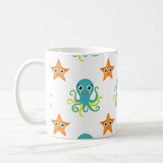 Blue Yellow Octopus; Orange Starfish Basic White Mug
