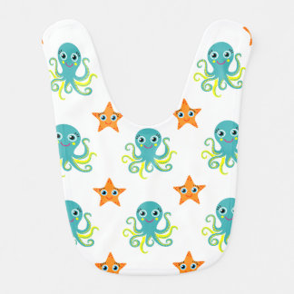 Blue Yellow Octopus; Orange Starfish Bibs