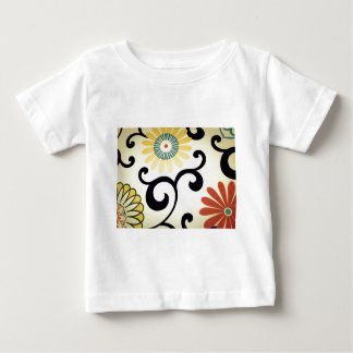 Blue Yellow Orange Red Floral Fabric Design T-shirt