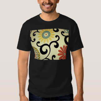 Blue Yellow Orange Red Floral Fabric Design T-shirts
