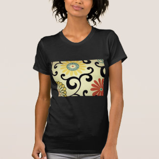 Blue Yellow Orange Red Floral Fabric Design Tees