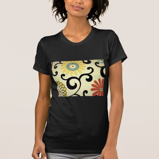 Blue Yellow Orange Red Floral Fabric Design Tee Shirts