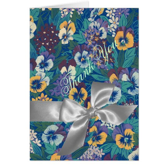 Blue & Yellow Pansies Silver Bow Thank You Card