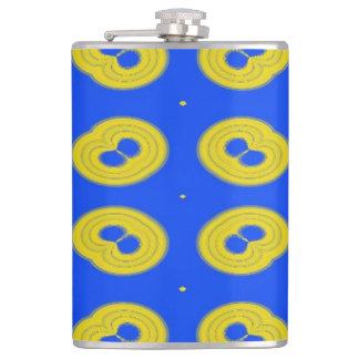 blue yellow pattern hip flask