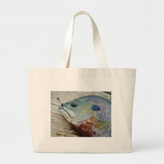 blue yellow purple teal, Bluegill fish on dock Canvas Bags