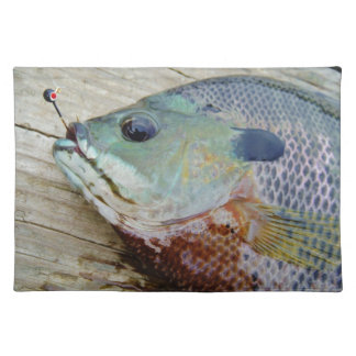 blue yellow purple teal, Bluegill fish on dock Placemats