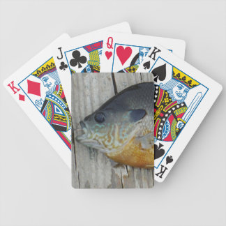 blue yellow purple teal Bluegill fish on dock Bicycle Poker Deck