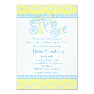 Blue Yellow Rattle Lace Sip N See Baby Shower Card
