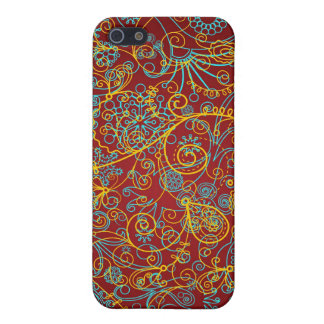 Blue Yellow & Red Swirls Pern Case For The iPhone 5