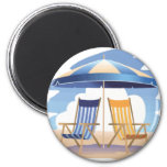 Blue & Yellow Striped Beach Chairs & Umbrella