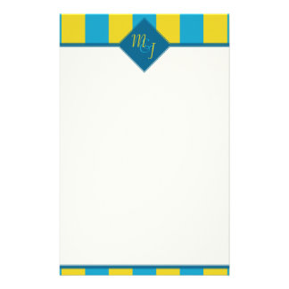 Blue Yellow Stripped Monogrammed Stationary Custom Stationery
