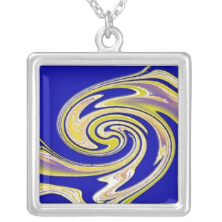 Blue Yellow Swirl Necklace