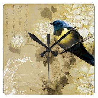Blue Yellow Thrush Bird - Chinese Painting Art Square Wall Clock