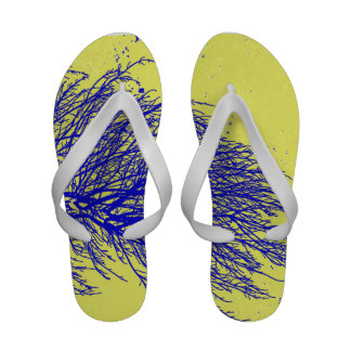 blue yellow tree abstract cool floral background flip flops
