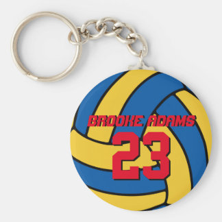 Blue Yellow Volleyball Sports Team Keychain