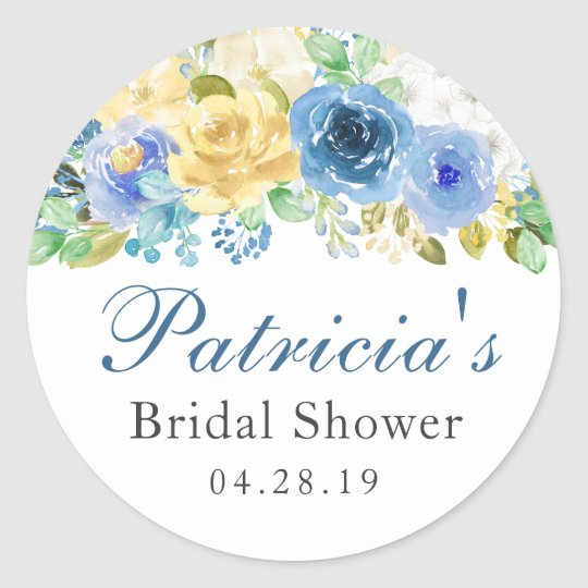 Blue Yellow Watercolor Floral Bridal Shower Classic Round Sticker