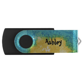 Blue/Yellow Watercolor USB Flash Drive
