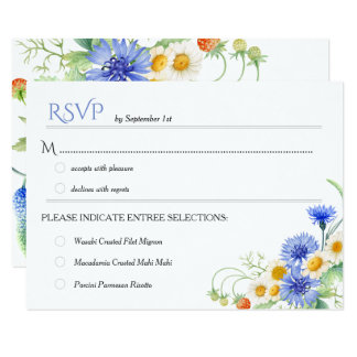 Blue Yellow Watercolor Wildflowers Wedding RSVPs Card
