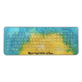 Blue/Yellow Watercolor Wireless Keyboard