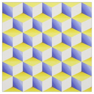 Blue Yellow White 3D Look Cubes Pattern 20P Fabric
