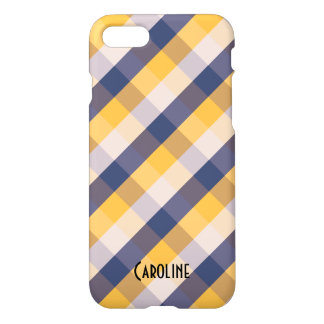 Blue Yellow White Gingham Pattern Personalized iPhone 8/7 Case