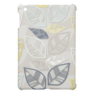 blue yellow white leaves in rows on gray iPad mini cover