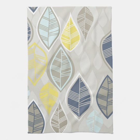 blue yellow white leaves on grey tea towel