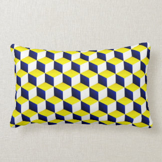 Blue, Yellow, White Shaded 3D Look Cubes Cushion