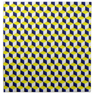 Blue, Yellow, White Shaded 3D Look Cubes Napkins