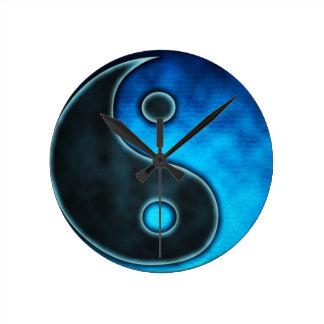Blue Yin Yang Symbol Round Clock