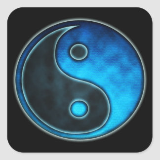 Blue Yin Yang Symbol Square Sticker