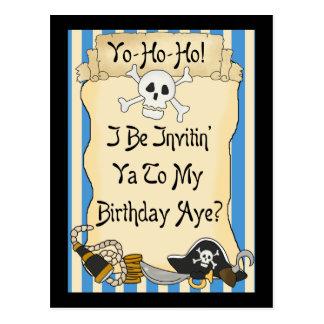 Blue Yo Ho Ho Pirate Birthday Invites Postcard