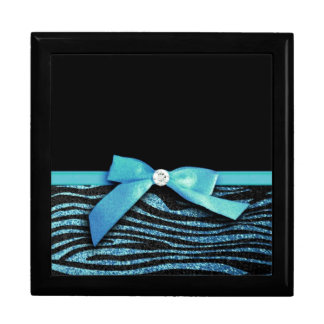Blue Zebra and ribbon bow graphic Large Square Gift Box