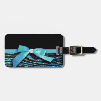 Blue Zebra and ribbon bow graphic Luggage Tag