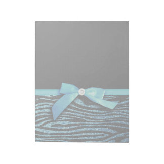 Blue Zebra and ribbon bow graphic Notepad