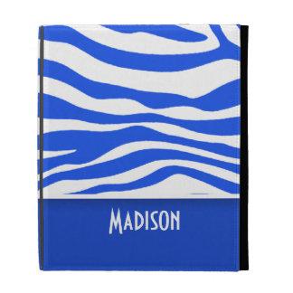 Blue Zebra Animal Print; Personalized iPad Cases